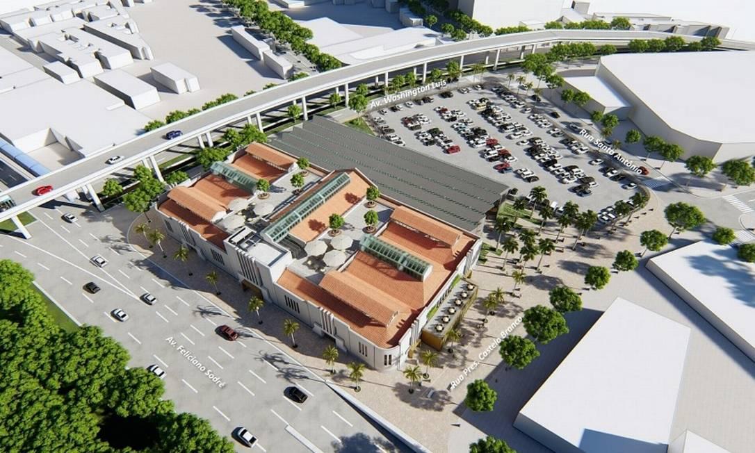 O projeto de novo Mercado Municipal visto de cima: prédio principal passa por um processo de retrofit, com a preservação das linhas originais. Foto: Divulgação/Prefeitura de Niterói