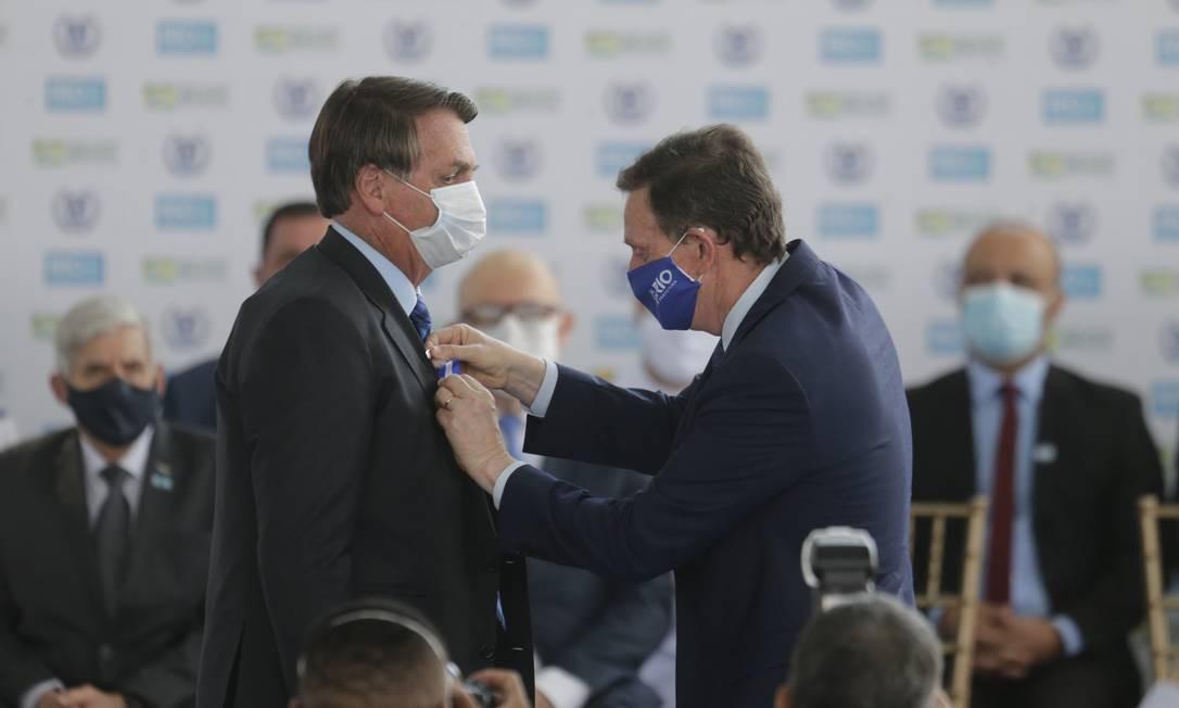 Presidente da República e Jair Bolsonaro inauguram escola cívico-militar, no Rio Foto: Antonio Scorza / Antonio Scorza