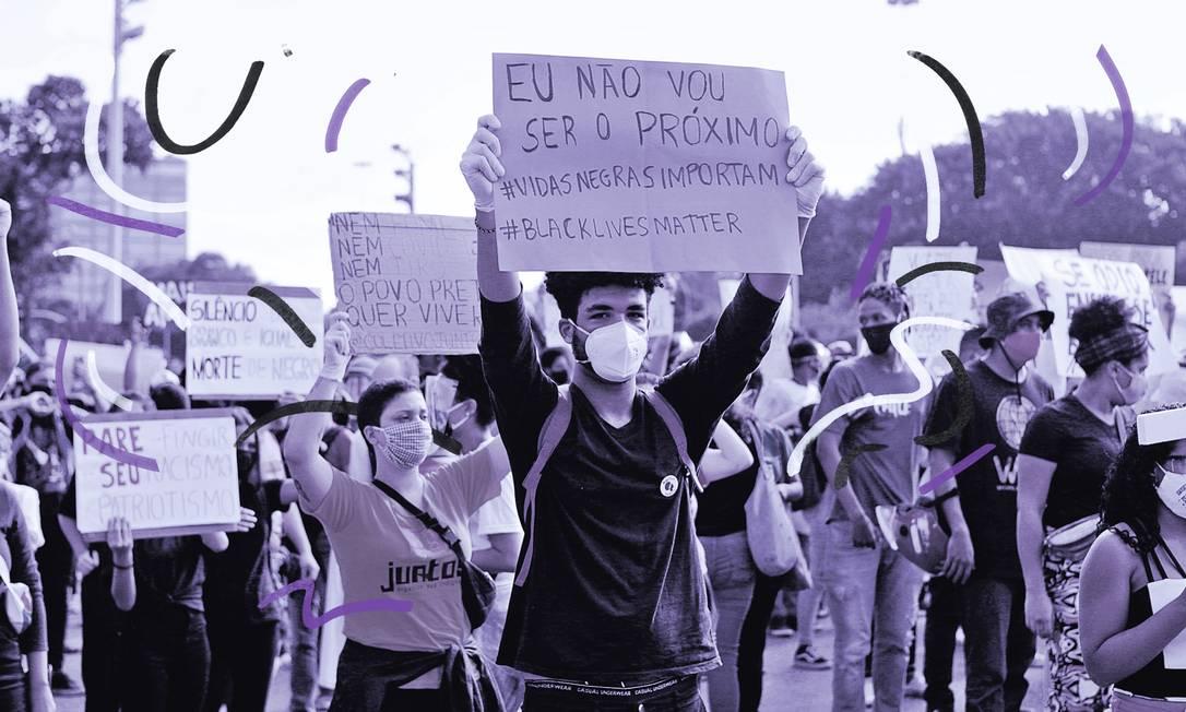Manifestação contra o Racismo e pela democracia no Centro do Rio na Avenida Presidente Vargas Foto: Alexandre Cassiano / Agência O Globo