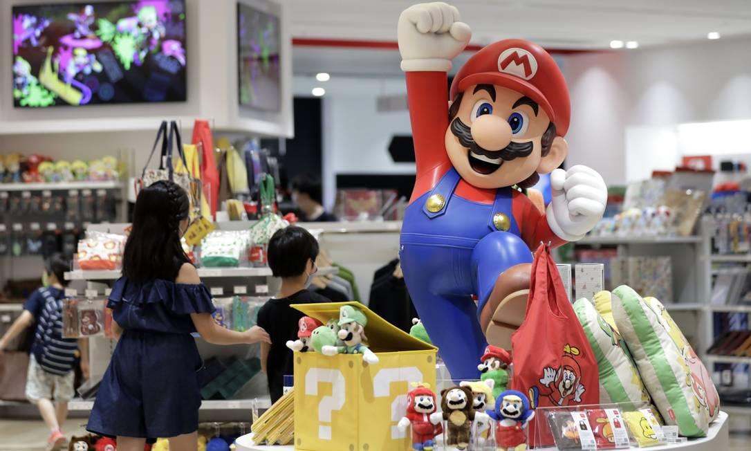 Ganho recorde. O Super Mario Brothers é um dos jogos mais populares da Nintendo: lucro disparou 428%, em março, frente ao mesmo mês de 2019 Foto: Kiyoshi Ota/Bloomberg