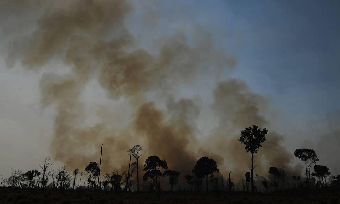 Grande quantidade de fumaça sobre de queimada em reserva da floresta amazônica, ao sul de Novo Progresso, no estado do Pará, no domingo (16) Foto: CARL DE SOUZA / AFP