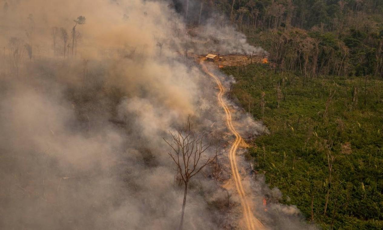 Queimada na Reserva Extrativista Jaci-Paraná, em Porto Velho, Rondônia Foto: Christian Braga / Greenpeace / Agência O Globo