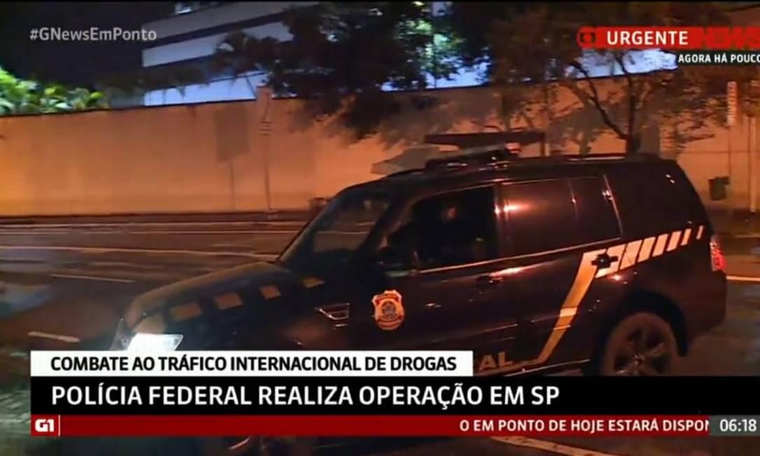 Carro usado em operação contra tráfico internacional de drogas chega à sede da PF em SP Foto: Reprodução/GloboNews