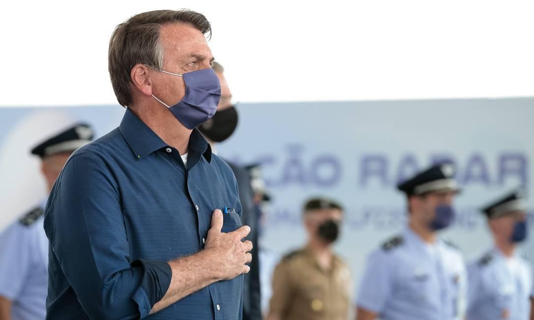 O presidente Jair Bolsonaro participa de cerimônia em Corumbá Foto: Júlio Nascimento/Presidência/18-08-2020