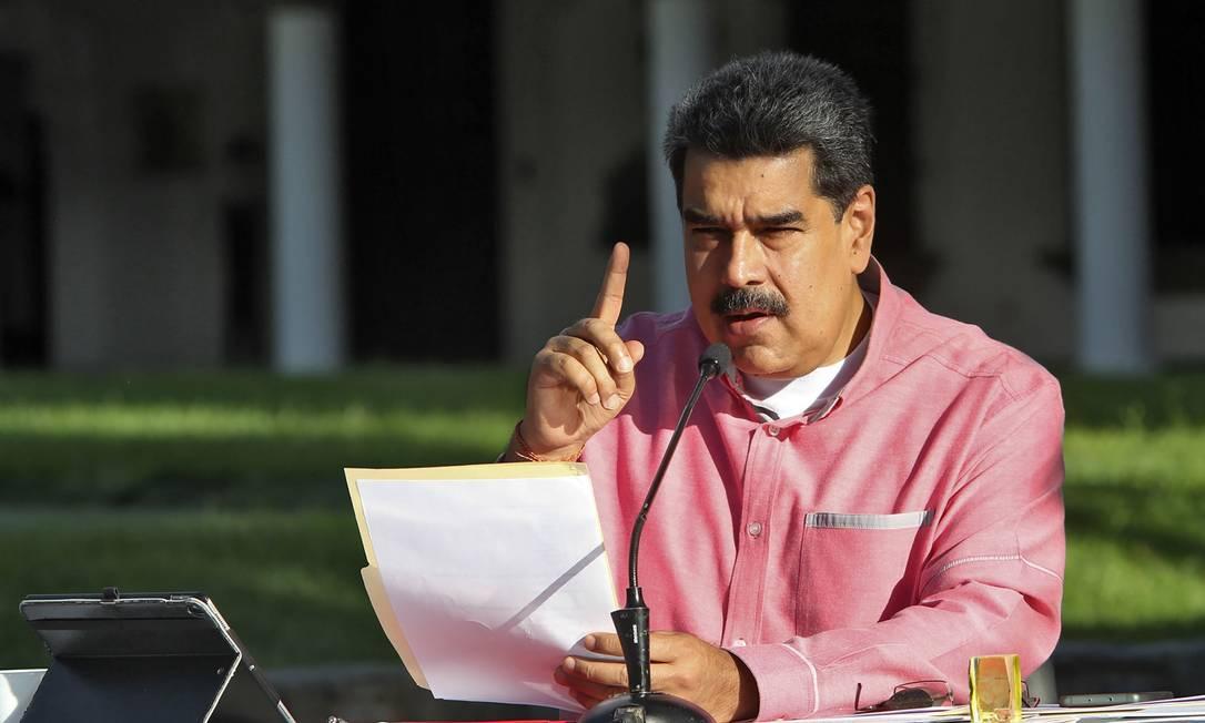 Presidente da Venezuela Nicolás Maduro em discurso sobre o novo coronavírus Foto: Presidência da Venezuela / via AFP