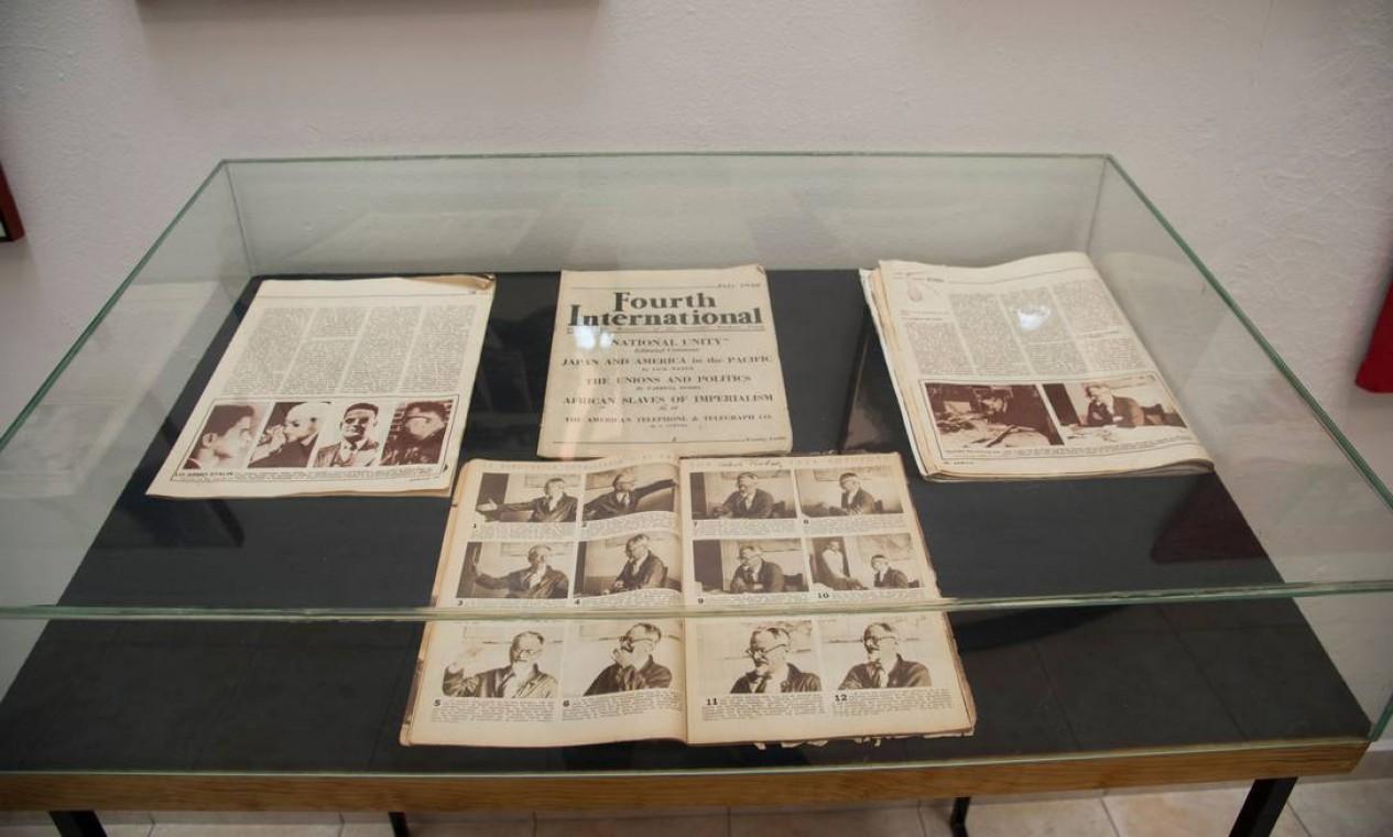 Exibição de documentos na Casa Museu do revolucionário, na Cidade do México Foto: CLAUDIO CRUZ / AFP