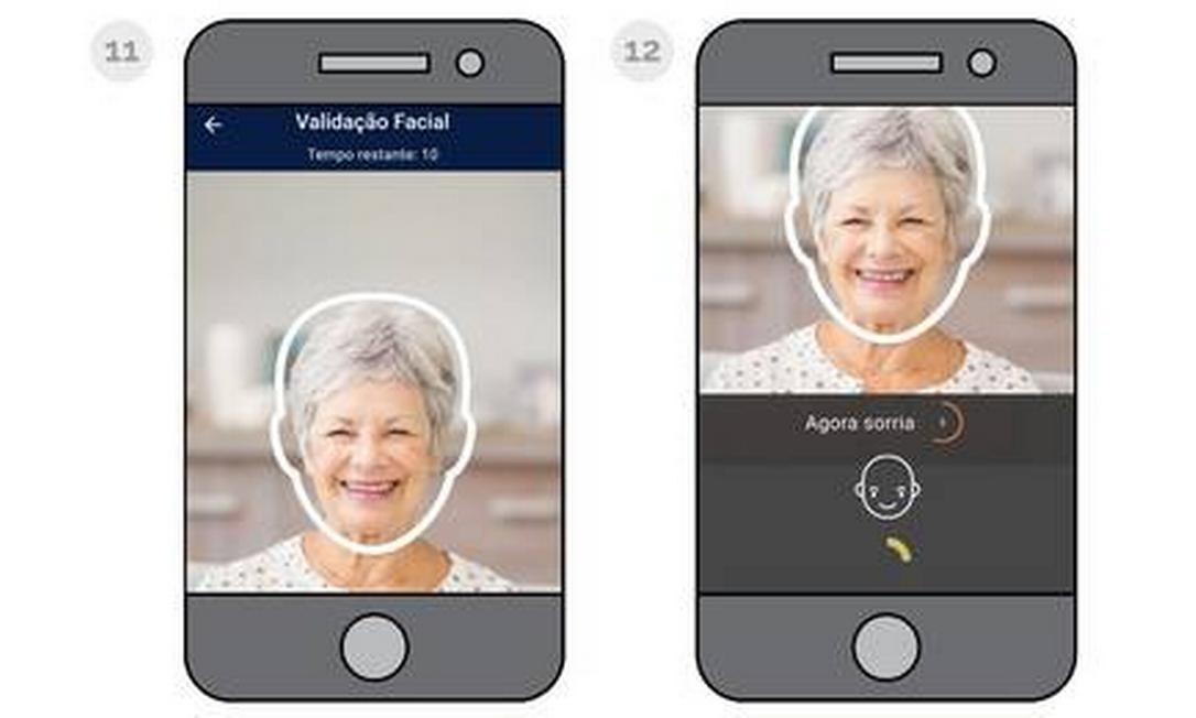 Como será a prova de vida por biometria facial. Foto: Reprodução