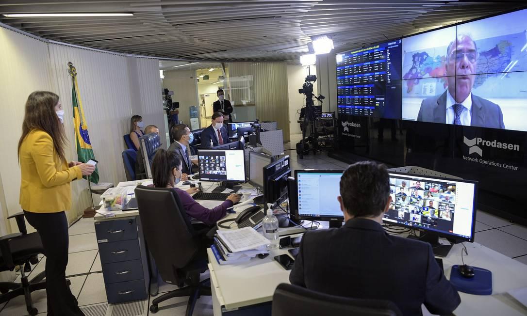 Sessão remota do Congresso Nacional na qual senadores derrubaram o veto do presidente Jair Bolsonaro, e permitiram aumentos para servidores Foto: Pedro França / Agência Senado