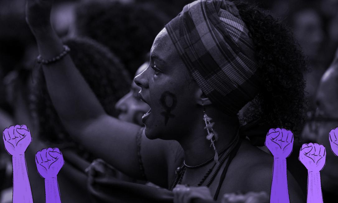 Manifestação pelo Dia Internacional da Mulher no Centro do Rio de Janeiro Foto: Guito Moreto / Guito Moreto