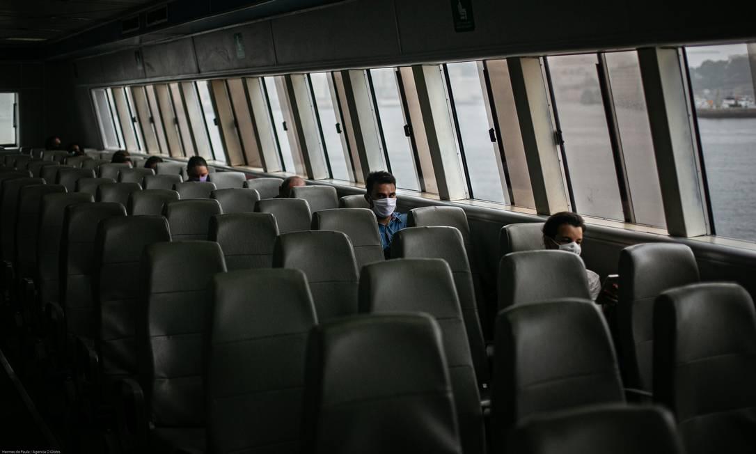 Mais lugar que passageiros nas barcas. Concessionária chegou a estimar prejuízo de R$ 150 milhões por conta da pandemia Foto: Hermes de Paula / Agência O Globo