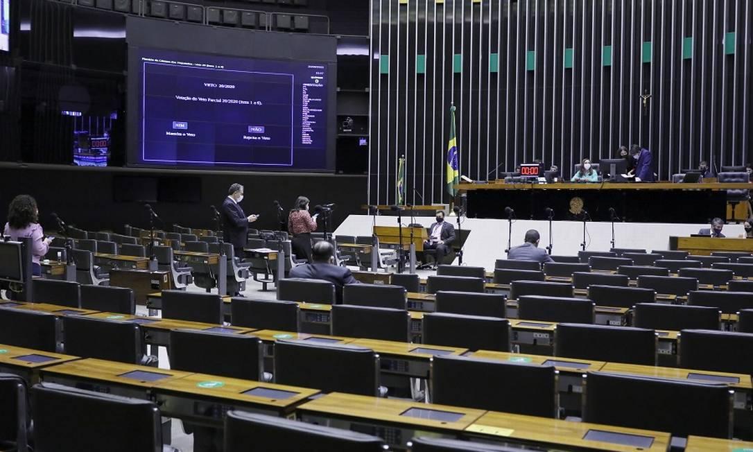 Plenário da Câmara: votação decisiva manteve o veto a reajuste dos servidores Foto: Najara Araujo/Câmara dos Deputa / Agência O Globo