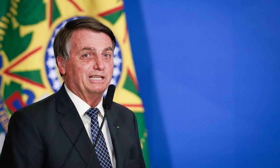 O presidente Jair Bolsonaro, durante cerimônia no Palácio do Planalto Foto: Pablo Jacob/Agência O Globo/19-08-2020