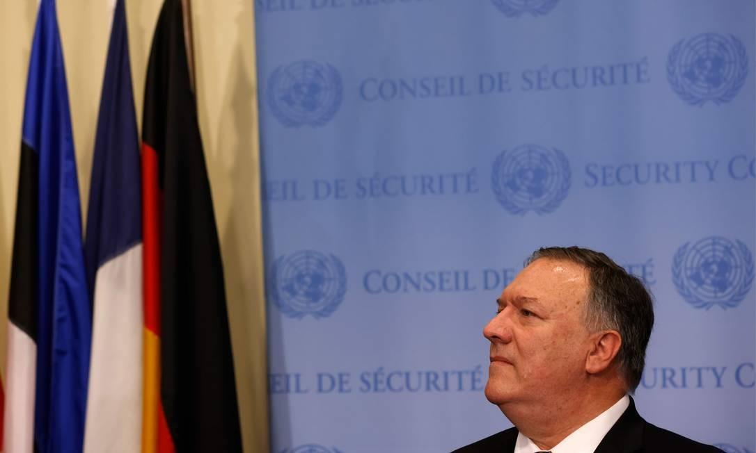 Secretário de Estado dos EUA, Mike Pompeo, em entrevista coletiva depois de reunião do Conselho de Segurança da ONU Foto: MIKE SEGAR / AFP