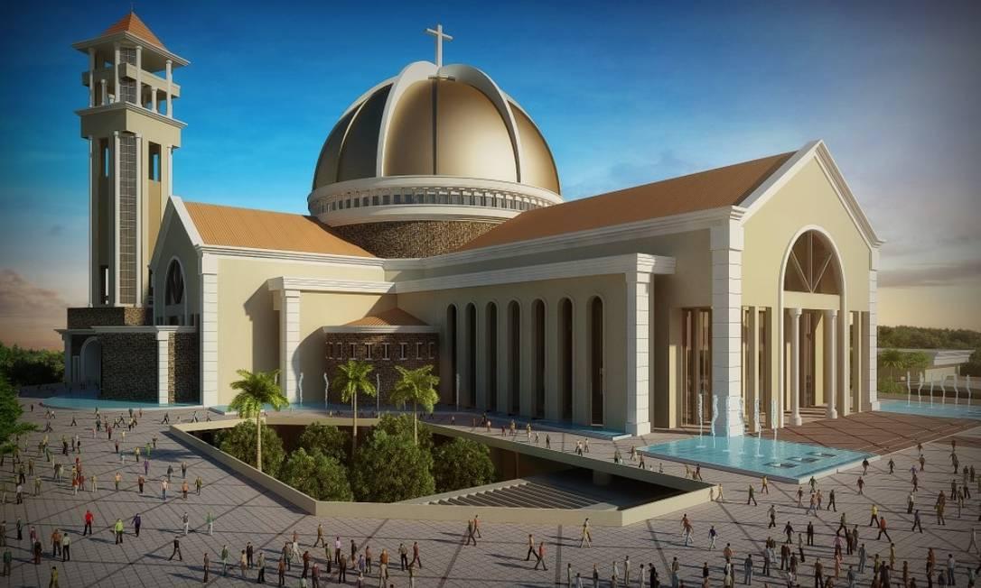 Ilustração do projeto dá a dimensão da nova basílica em construção na cidade de Trindade, em Goiás Foto: Divulgação