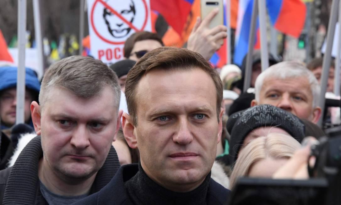 Líder opositor russo, Alexei Navalny, durante protesto em memória de Boris Nemtsov, crítico do Kremlin assassinado Foto: KIRILL KUDRYAVTSEV / AFP / 29-2-2020
