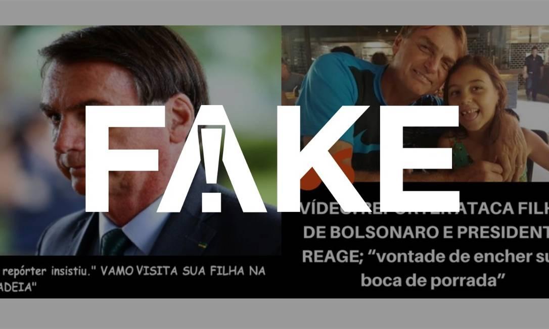 É #FAKE que repórter disse 'vamos visitar sua filha na cadeia' antes de ser ameaçado por Bolsonaro Foto: Reprodução