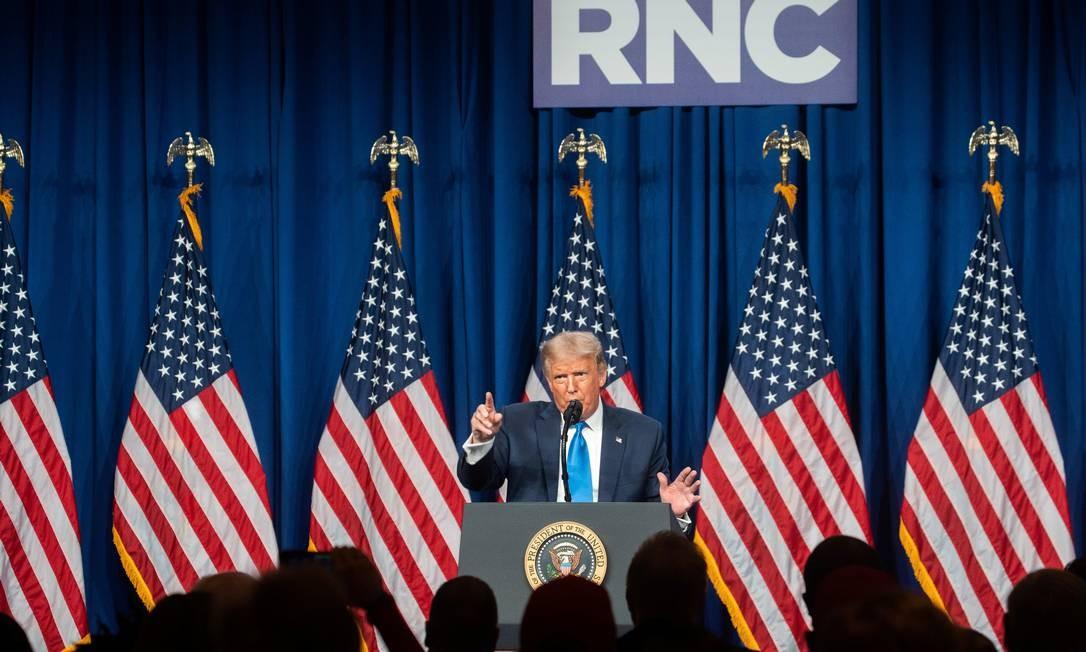 Donald Trump discursa na abertura da Convenção Republicana em Charlotte, na Carolina do Norte Foto: POOL / REUTERS