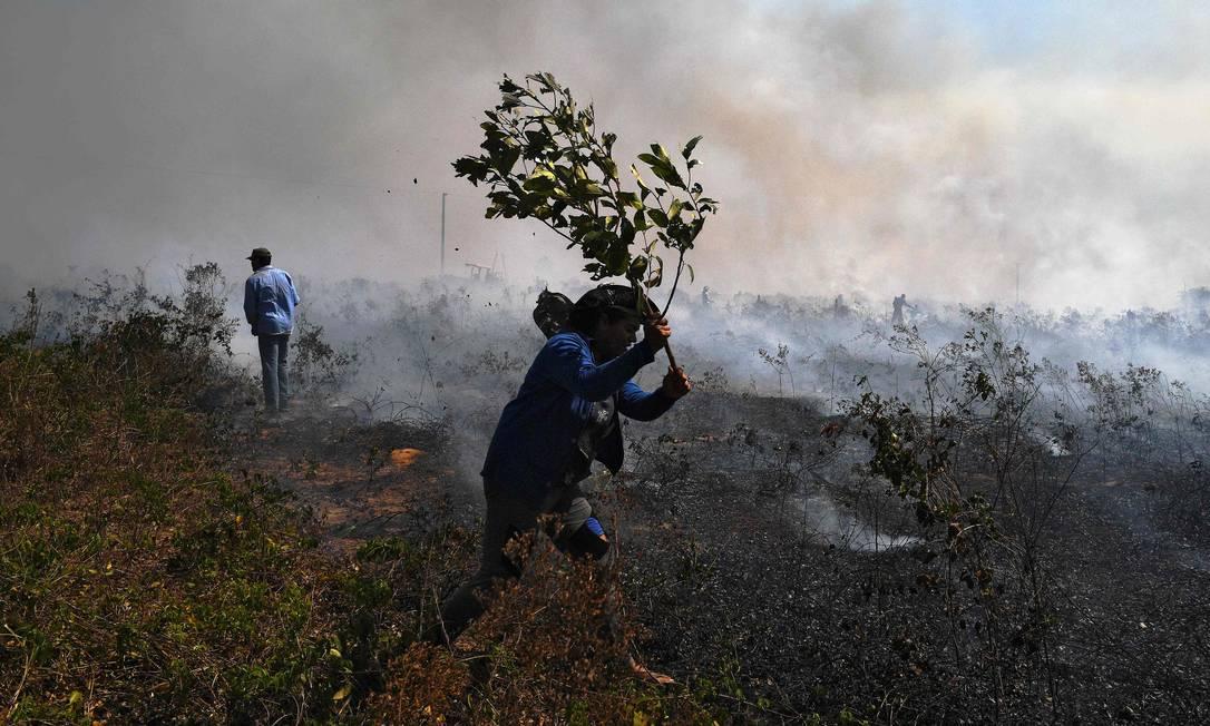 Fazendeiros tentam conter incêndio em Sinop, no Mato Grosso Foto: CARL DE SOUZA / AFP