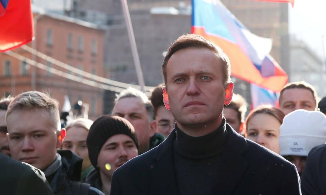 Alexei Navalny durante marcha em memória de Boris Nemtsov, opositor do Kremlin assassinado em 2015 Foto: Shamil Zhumatov / REUTERS/29-2-2020