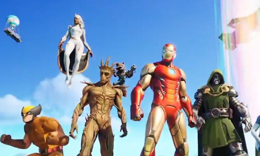 A atualização do Fortnite com os super-heróis da Marvel Foto: Reprodução/Twitter