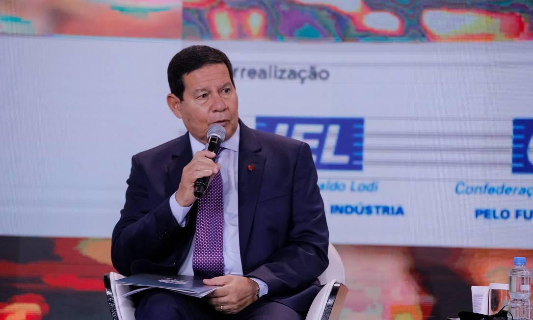 O vice-presidente Hamilton Mourão participa de evento da CNI em Brasília Foto: Romério Cunha/Vice-Presidência/19-08-2020