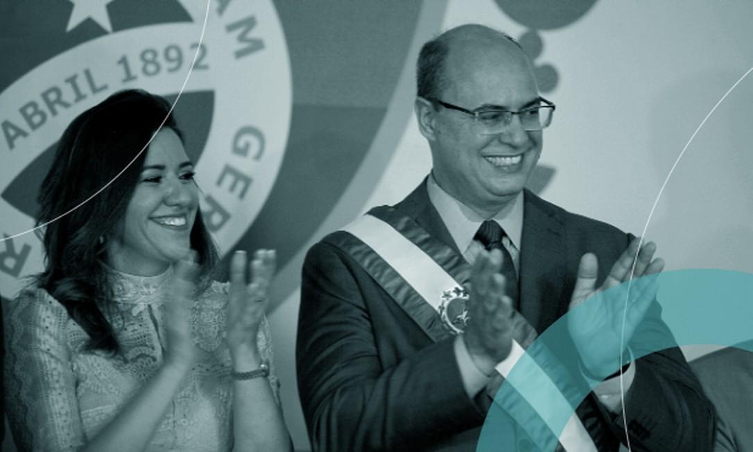 Witzel ao lado da mulher, Helena, e com a faixa que mandou confeccionar, na posse como governador do Rio, em janeiro de 2019 / Crédito: André Gomes de Mello / Agência O Globo