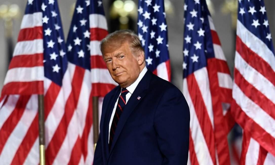 Presidente Donald Trump, durante discurso de encerramento da Convenção Republicana, nos jardins da Casa Branca Foto: BRENDAN SMIALOWSKI / AFP / 27-8-2020