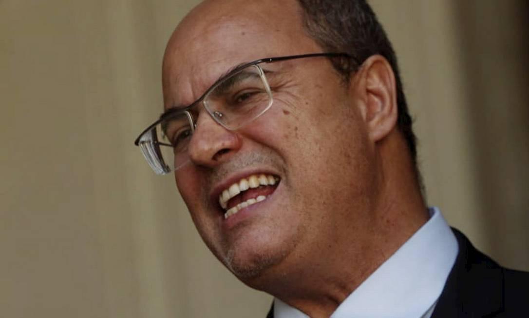 Wilson Witzel discursou no Palácio das Laranjeiras e manteve tese de perseguição política, por desavença com presidente Bolsonaro Foto: Gabriel Monteiro / Agência O Globo