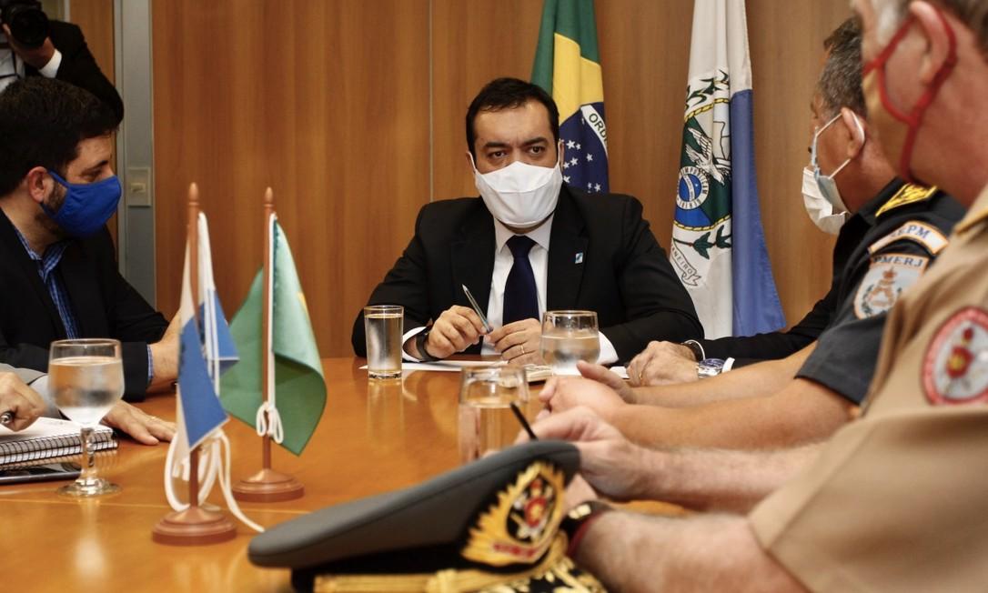 Cláudio Castro em reunião com secretários no Palácio Guanabara Foto: Divulgação / Governo do RJ