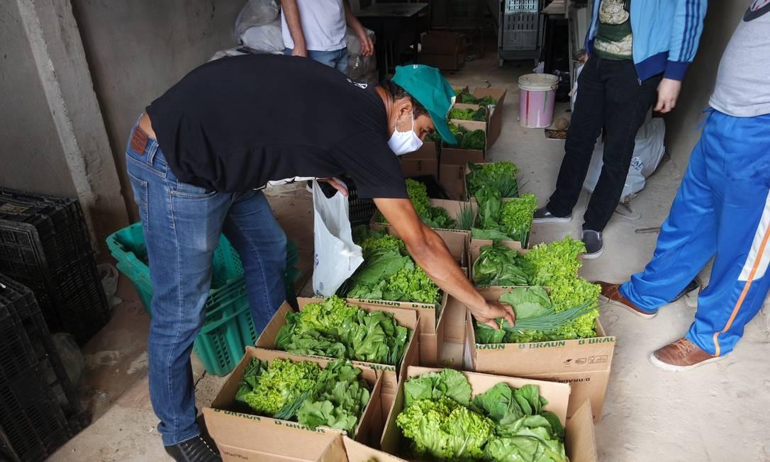 Voluntários organizam cestas de alimentos para doação Foto: Divulgação/ Priscila Sabrina