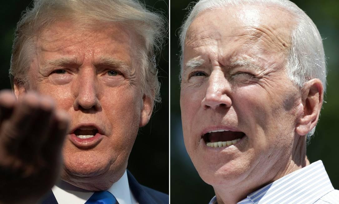 Presidente americano Donald Trump e ex-vice Joe Biden concorrem pela eleição à Casa Branca Foto: Jim Watson e Dominick Reuter / AFP