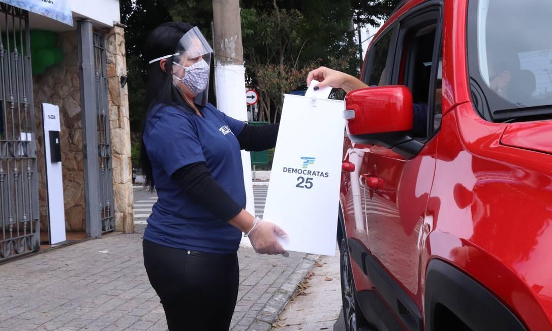 Convenção do Democratas em São Paulo adotou o modelo drive-thru Foto: Divulgação Democratas