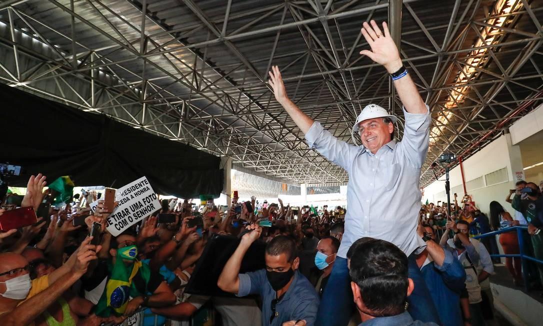 Presidente da República Jair Bolsonaro, durante desembarque na cidade de Aracaju Foto: Alan Santos / Divulgação