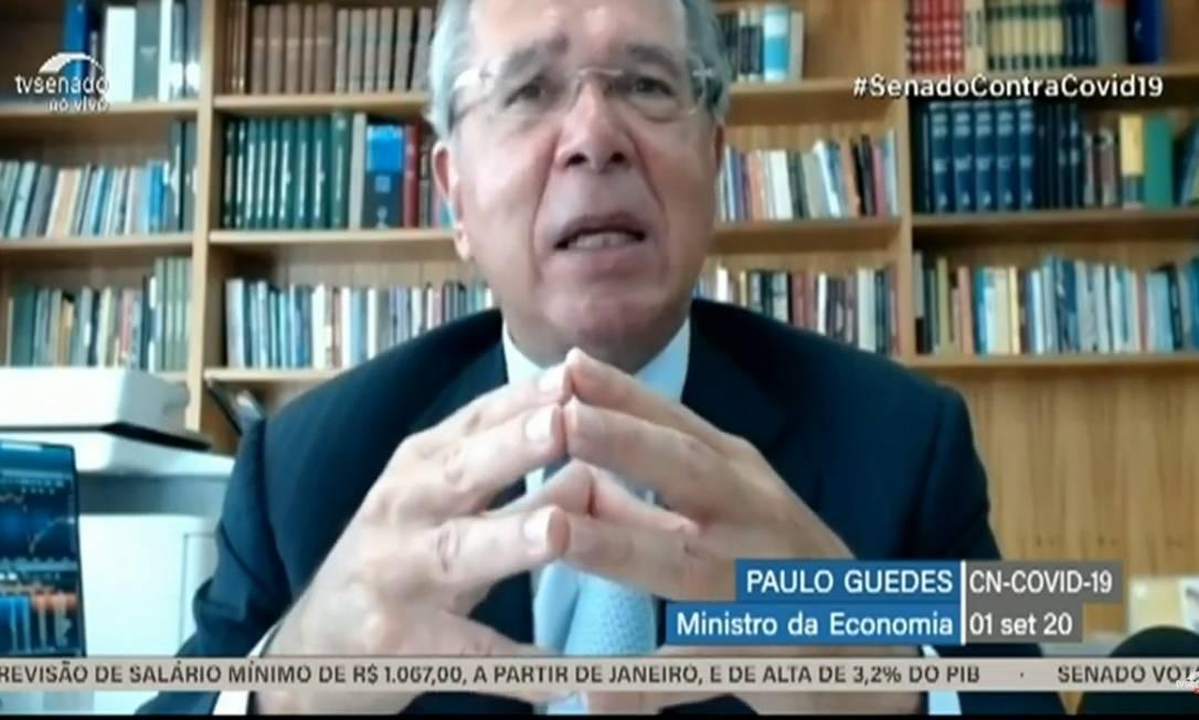 O ministro da Economia, Paulo Guedes, em audiência pública no Congresso Nacional Foto: Reprodução