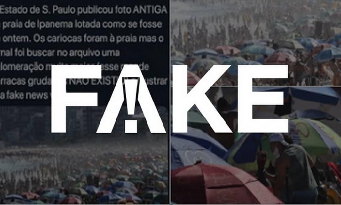 É #FAKE que foto de praia lotada no Rio publicada em jornal é antiga e foi retirada de arquivo Foto: Reprodução
