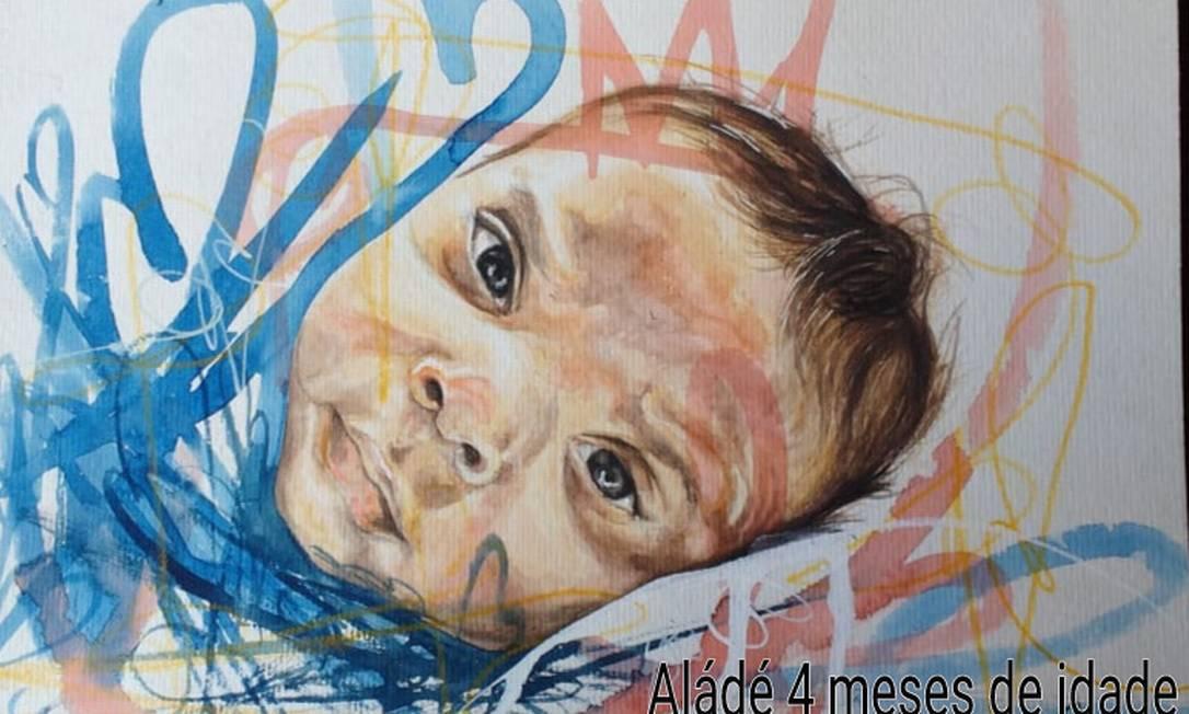 O grafiteiro Rodrigo Sini pinta rostos de crianças sob encomenda Foto: Acervo pessoal