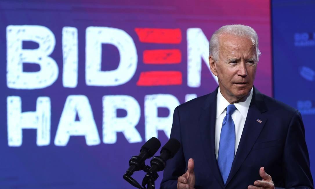 Candidato democrata à Presidência dos EUA, Joe Biden, durante evento eleitoral em Wilmington, no estado de Delaware Foto: ALEX WONG / AFP