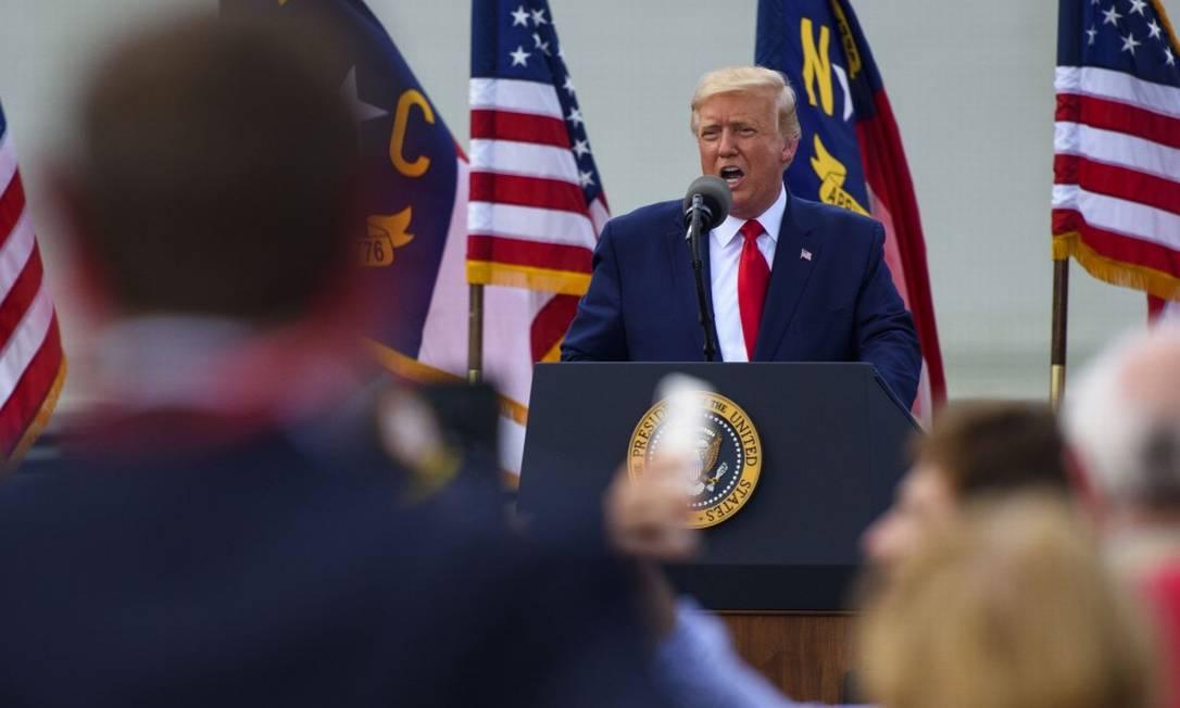 Presidente Donald Trump faz discurso em Wilmington, na Carolina do Norte Foto: Melissa Sue Gerrits / AFP / 2-9-2020