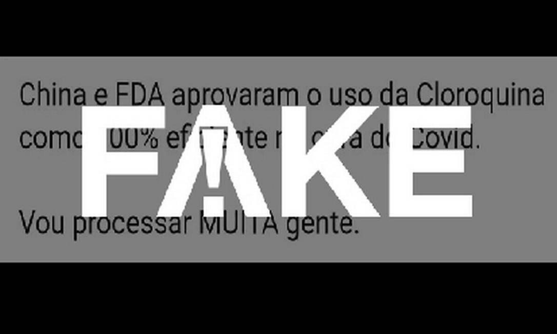 É #FAKE que EUA e China consideram cloroquina '100% eficiente' para curar a Covid-19 Foto: Reprodução
