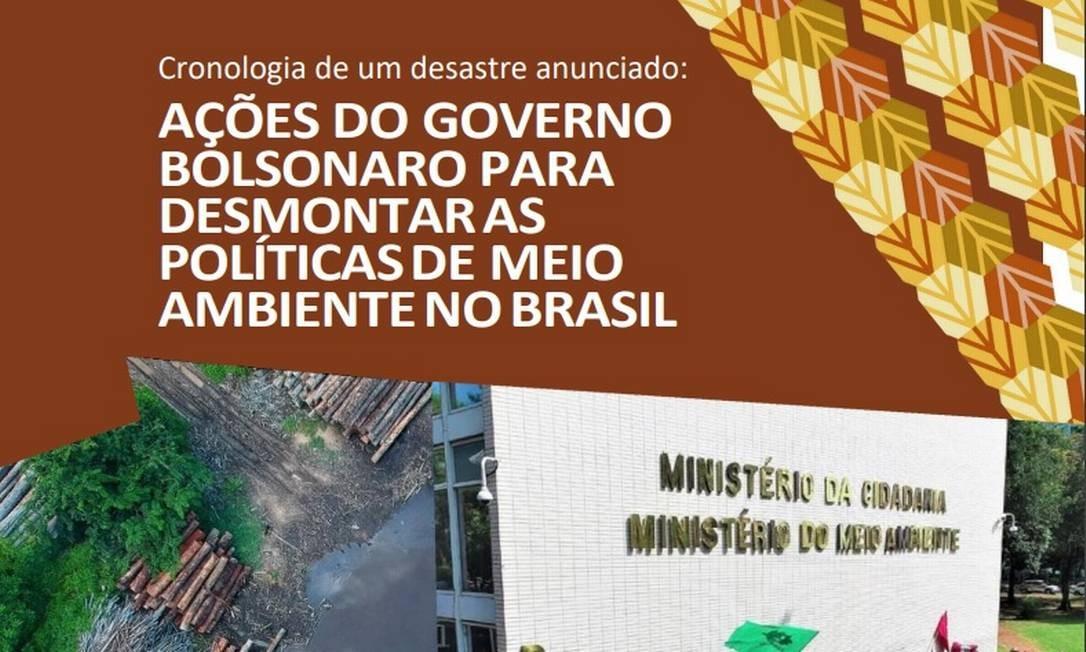 Documento de 34 páginas lista denúncia contra política de Bolsonaro para o Meio Ambiente Foto: Reprodução