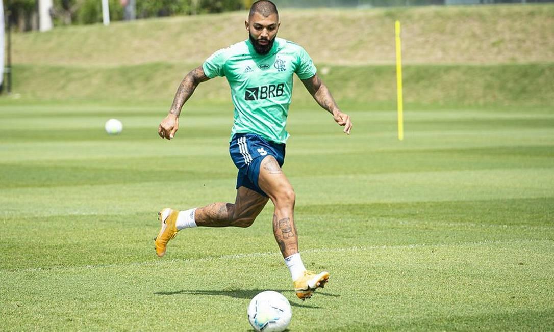 Gabigol treinou neste domingo e deve voltar ao time no Fla-Flu Foto: Divulgação Flamengo