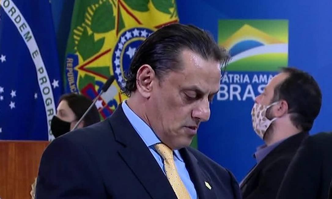 O advogado Frederick Wassef durante a posse do ministro das Comunicações, em julho Foto: Reprodução TV Globo