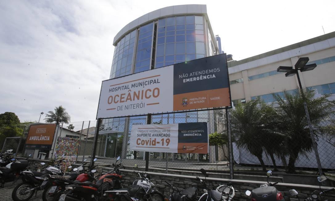 Internações em alta: o Hospital Oceânico é a unidade com maior número de leitos de UTI para Covid-19 na cidade Foto: Antonio Scorza / Agência O Globo
