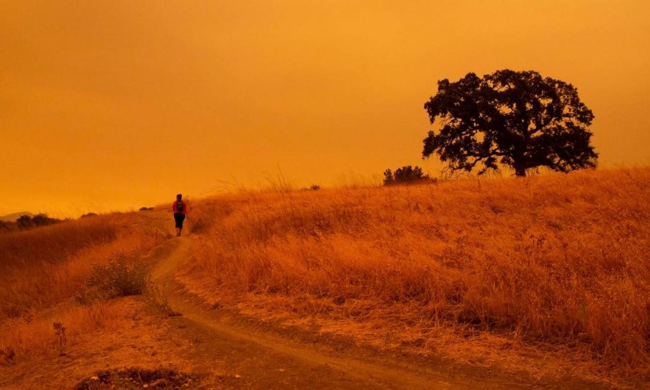 Homem anda pelas trilhas de caminhada Limeridge Open Space em Concord, Califórnia. Por causa dos incêndios, paisagem americana ficou alaranjada Foto: Brittany Hosea-Small / AFP