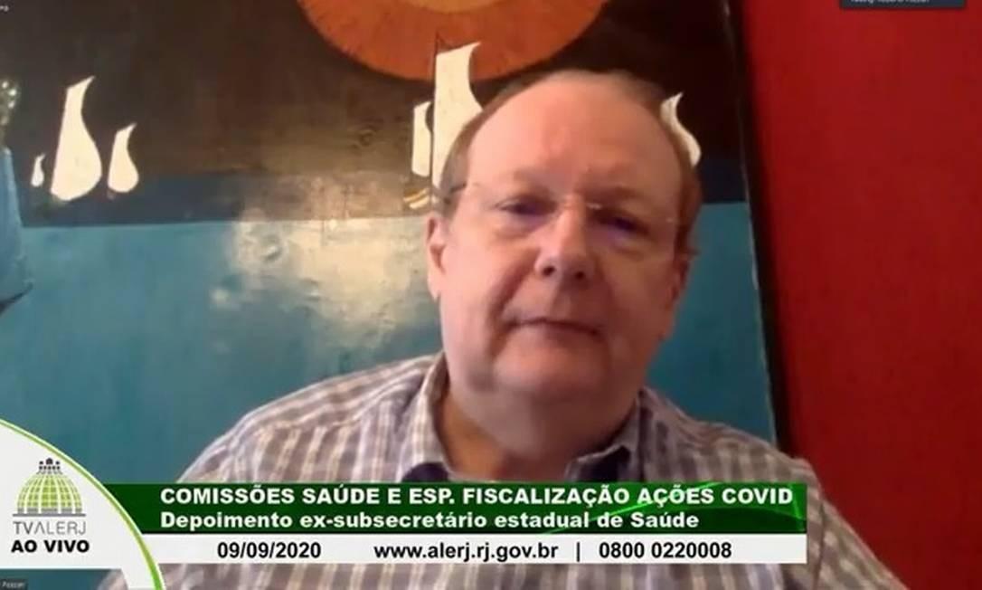 Ex-subsecretário de Saúde Roberto Pozzan em depoimento à Alerj Foto: Reprodução TV Alerj