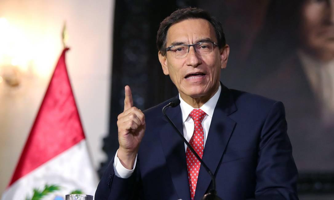 Martín Vizcarra fez um pronunciamento à nação se defendendo das acusações de corrupção Foto: CARLA PATINO / AFP/10-09-2020