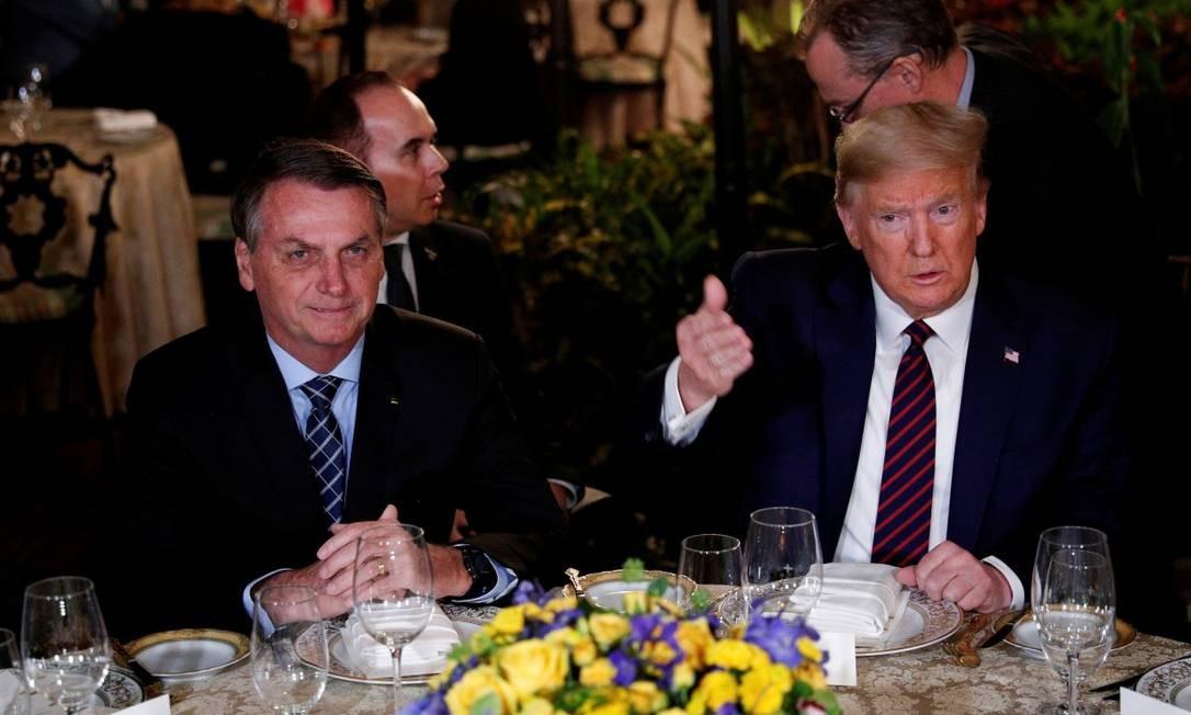 Presidentes Jair Bolsonaro e Donald Trump durante visita do brasileiro à Flórida Foto: Tom Brenner / REUTERS / 7-3-2020
