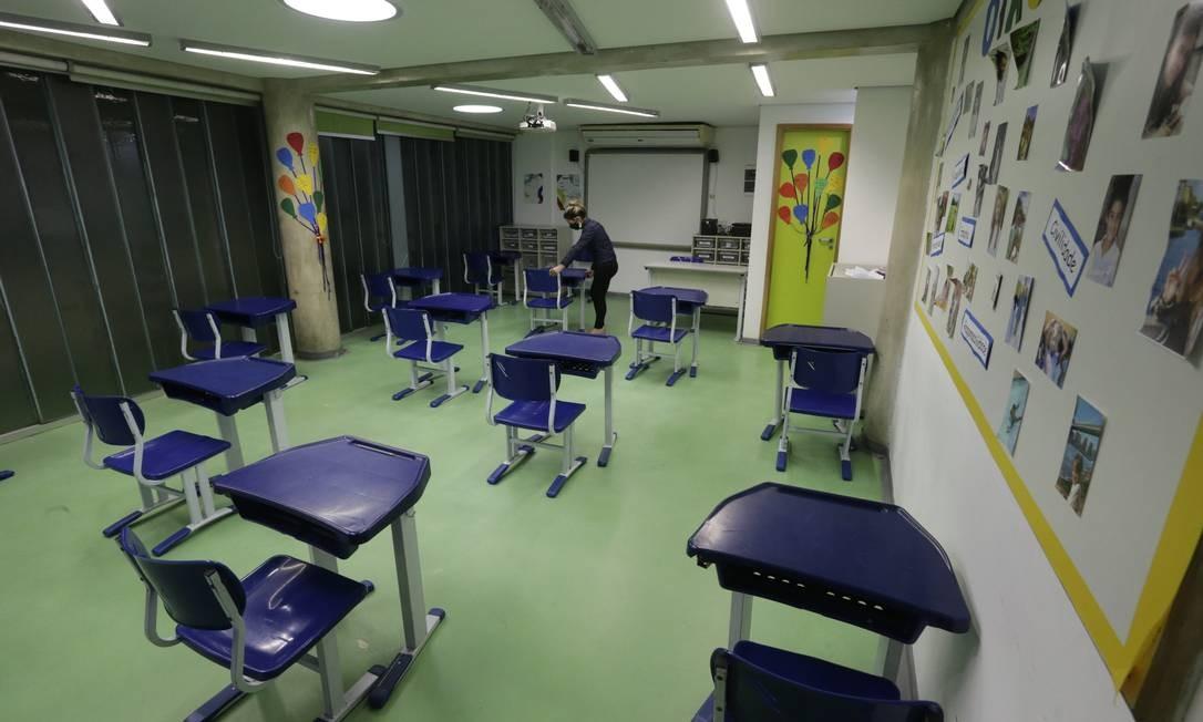 Sala do Colégio Mopi, na Barra da Tijuca, em julho de 2020 Foto: Domingos Peixoto / Agência o Globo