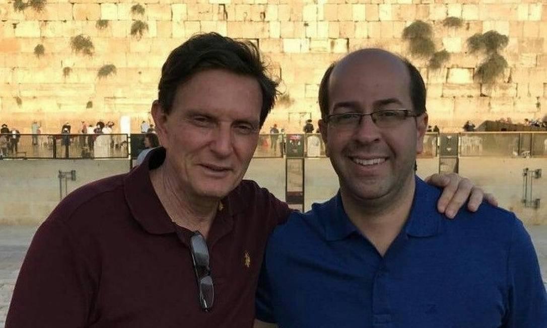 Rafael Alves em 2016, em visita a Jerusalém junto com o prefeito Marcelo Crivella, na época recém-eleito para administrar o município do Rio Foto: Reprodução