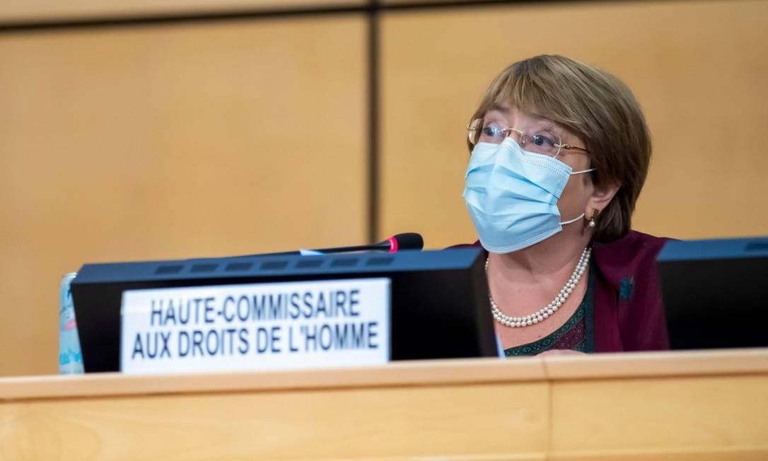 Michelle Bachelet, alta comissária da ONU para os Direitos Humanos, durante discurso na abertura da sessão do Conselho de Direitos Humanos da ONU, em Genebra Foto: MARTIAL TREZZINI / AFP